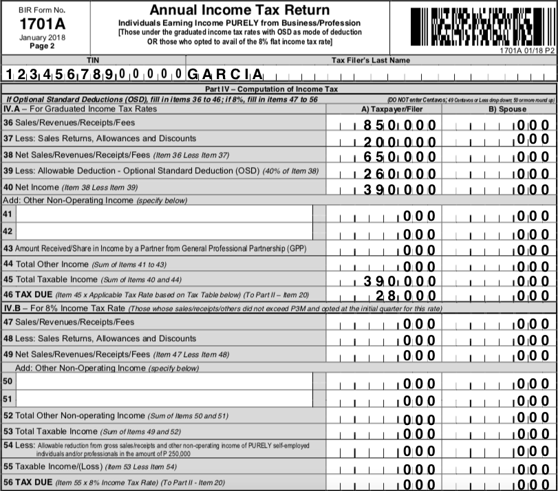 how to compute income tax 1701a