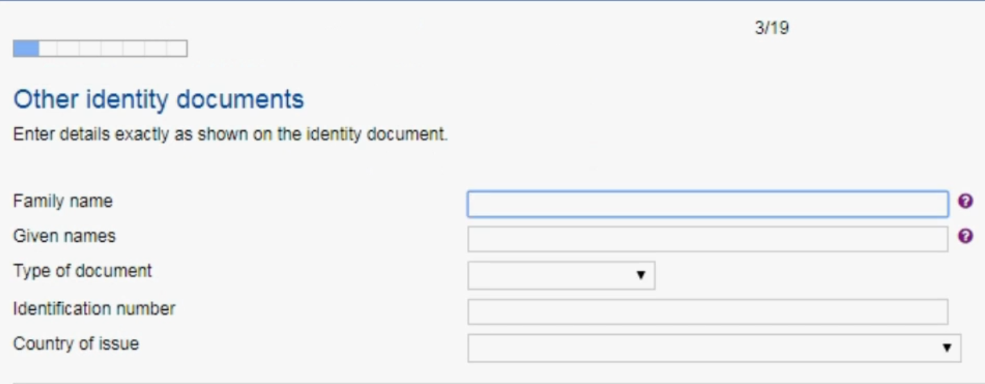other identity document for visa application