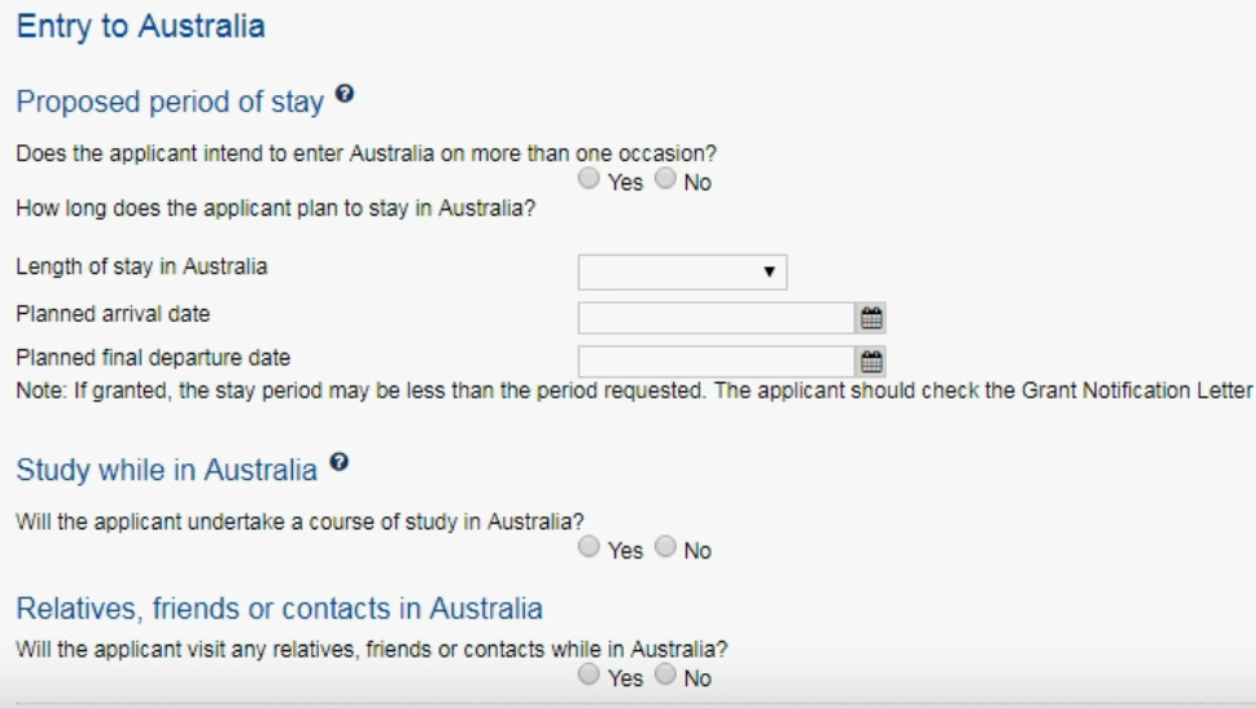 period of stay in australia