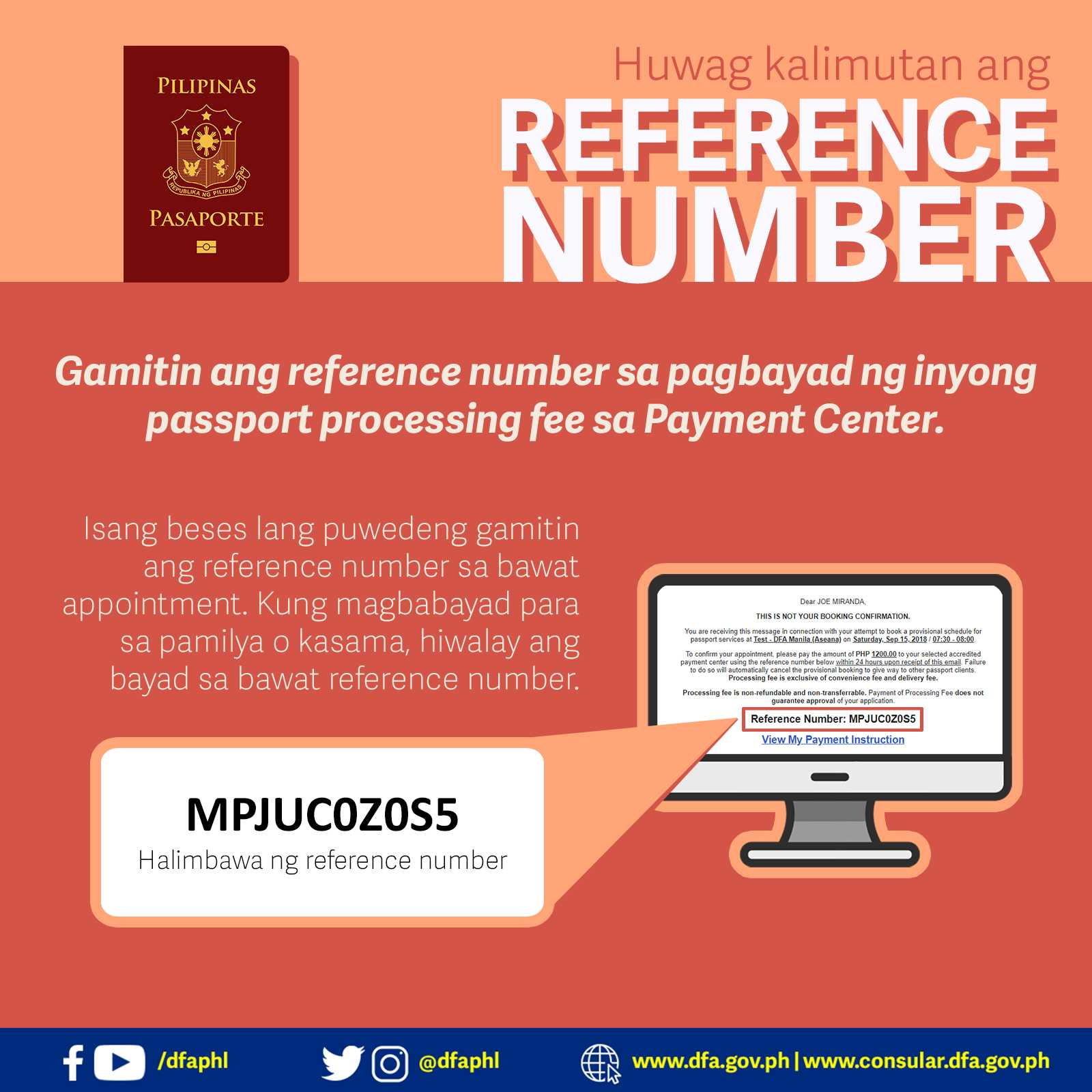 passport payment reference number dfa