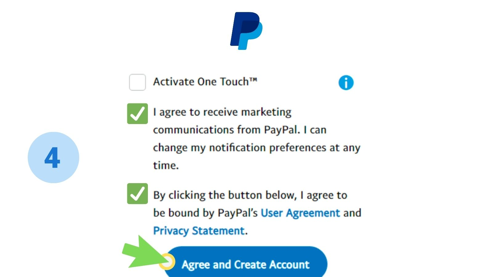 paypal step 4 activate one touch